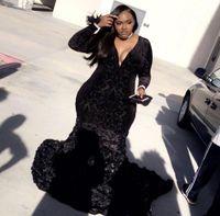 ingrosso pizzo nero più il formato-Plus Size African Black Girls Mermaid Prom Dresses 2018 Black Lace maniche lunghe fiori fatti a mano abiti da sera del partito BA8406