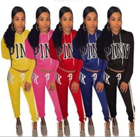 Wholesale wholesale women s workout clothes - Pink Letter Tracksuits Stripes Printed Hat Hoodie Pants Pullover Hoodies Pink Workout Sports Outfit Clothing 6 Colors OOA4785