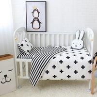 Wholesale Cot Sheets - 3pcs Baby Bedding Set Cotton Crib Sets Black White Stripe Cross Pattern Baby Cot Set Including Duvet Cover Pillowcase Flat Sheet