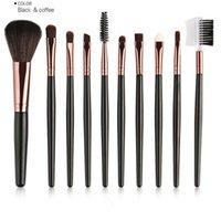Wholesale Eyebrow Sponge Brush - 10Pcs Professional makeup Brushes Set eye brush Eyeshadow Eyebrow Eyelash Brushes sponge Foundation Powder Concealer brush Beauty Tools