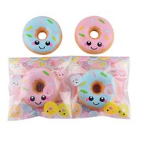 Wholesale pink bread - 40pcs Squishies Slow Rising Squishy Doughnut Cream Scented Jumbo Food Bread Cake Kids Toy Pink Blue Stress Relief Decompression Toys STS203