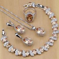 collar de circón pulsera al por mayor-Joyas de lujo S925 Joyas de plata esterlina Champagne Circón Juegos de joyas para mujer Pendientes / Colgante / Collar / Anillos / Pulsera