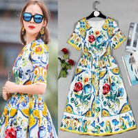Wholesale stunning knee length dresses for sale - Group buy European American Summer Fashion Plus Size Dresses Short Sleeve Stunning Printed Bohemian Slim Women Dress High Quality