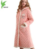 Wholesale Thick Nightgown - New Boutique Women Winter Coral Fleece Robes Three layers Thick Warm Sleep Dress Plus size Hooded Jackets Long style OKXGNZ 1288