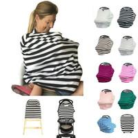 Wholesale Stripe Maternity - 36 Colors Baby Mum Stripe Cotton Nursing Cover Maternity Loose Tops Tshirt Infant Car Seat Cover Nursing Breastfeeding Breast Feeding