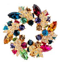 çinli elmas takıları toptan satış-1 Adet Bling Bling Kristal Rhinestone Altın Çin Redbud Çiçek Broş Pins Takı Kadınlar Eşarp için Broşlar