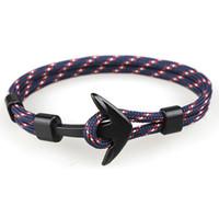 ingrosso nylon anchor bracelet-6 pz / lotto misto Viking Black Anchor Bracciali Uomo Hope Nautical Anchor Bracelet Pulsera Navy Handmade Nylon Anchor Anchor Bracciali per uomo