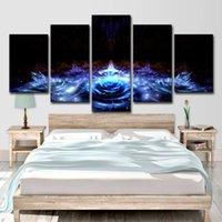 ingrosso dipinti astratti acqua-Quadri su tela Home Decor Wall Art 5 Pezzi Blue Water Lily Flowers Dipinti Soggiorno HD Prints Poster astratto Lotus