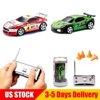 Wholesale Mini RC Racing Car Coke Can Random Color CH Remote Control Vehicle LED Light Toys for Kids B US STOCK