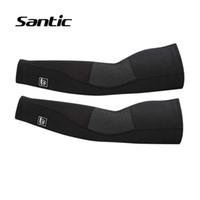 kış kol kolları toptan satış-Santic Spor Güvenlik Kış Polar Termal Kol Kol Bisiklet Kol Isıtıcıları Bisiklet Koşu Basketbol Voleybol Kollu Armwarmers