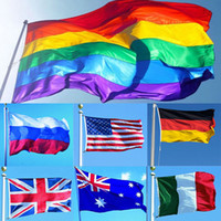 Wholesale rainbow designs - 3*5ft 90*150cm Rainbow Flags And Banners Lesbian Gay Pride LGBT Flag Polyester Colorful Flag For Decoration 26 Design WX9-216