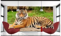 ingrosso nascondere la fotocamera per la casa-papel de parede 3D Foto personalizzata murale Carta da parati King of Forest Animals Tigre del Nord-Est Accovacciata Tigre Drago Nascosto Decorazione murale per la casa