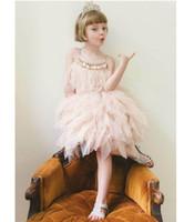 roupa da menina das penas venda por atacado-Varejo Vestido Da Menina 2018 Verão New Rhinestone Pena Princesa Vestido Para Festa de Casamento Show Compere Crianças Roupas E2305