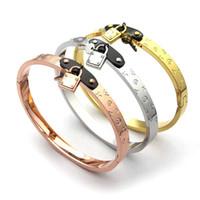 Wholesale gold chain set for men online - Luxury Brand Jewelry stainless steel Pulseira Bracelet Bangle k Gold silver rose gold plated lock key Bracelet For Women men