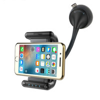 Wholesale hands free car phone holder online – Bluetooth Hands free Car Kit FM Frequency Support U Disk Music Play DC5V A Phone Charger Smartphone Holder Rotation
