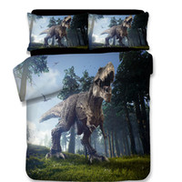 пуховые одеяла для животных оптовых-Free Shipping 3d Oil Painting Animal Dinosaur Bedding Duvet Cover Set 3/4Pcs Twin/Full/Queen Size Without Filler home textile