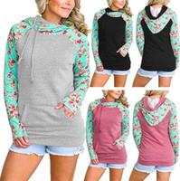 Wholesale double hoodie woman - Double Hood Hoodies Sweatshirt Autumn Women Floral Print Patchwork Drawstring Hoodie Side Zipper Long Sleeve Outerwear LJJO4382