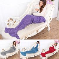 Wholesale king bedding bag - Knitting Handmade Fish Mermaid Tail Shape Sofa Bed Sleeping Bag Quilt Blanket