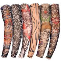 nuevas medias de diseño al por mayor-Nueva Nylon elástico falso tatuaje temporal manga Diseños Body Arm Medias Tatoo para hombres frescos Mujeres