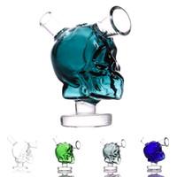 mini hookah toptan satış-Mini Kafatası bong cam nargile Blunt Fıskiye Sigara aksesuarları Küçük Su Borusu Küçük Borular El Boru kase