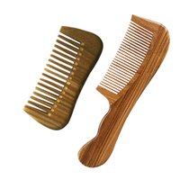 Wholesale fine wave - WideTooth Pocket Comb & Fine Tooth Wave Handle Hair Comb Green Sandalwood Beard Care grooming Comb wholesale Bulk sale