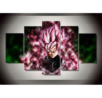 Wholesale framing stretched canvas - 5panels Dragon Ball Super Saiyan Anime,HD Art Oil Painting Print on Canvas Home Wall Decoration posters Framed No Stretch