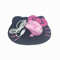 Wholesale Cute Mouse For Laptop - New Hello Kitty Wired Mouse Computer USB Optical Mouse + Cute Pad For Computer Laptop