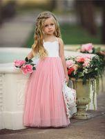 Wholesale pricess wedding dresses - 1-6Y ins girls tutu dresses kids white top pink ruffle dresses girls vest wedding dress baby costumes pricess dresses B11