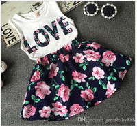 Wholesale Girls Dresses Cotton Pieces - New children girls sleeveless dress outfits letter LOVE vest+Floral skirt 2pcs set baby Kids Clothing free shipping C1019