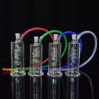 ingrosso tubo portaoggetti portaoggetti-LED Dab Rig Bong di vetro da 4,5 pollici di altezza Rigs portatile di olio Tubo di acqua Inline Coil Perc Narghilè Pipa da 10mm