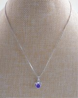 zinklegierung rhodium überzogen großhandel-Blume Halskette Zinklegierung Meterial Anhänger Folie weiß lila Kristall Diamon Messingkette Frauen Halskette Nachahmung Rhodium überzogen