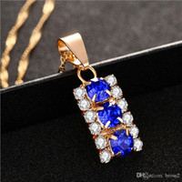 Wholesale Lighted Heart Necklace - Temperament natural crystal necklace 18k light gold necklace Christmas gift pendant