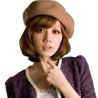женские шерстяные шляпы белые оптовых-Женская девушка мода берет женский французский художник теплая шерсть зима Шапочка шляпа черный белый серый розовый сплошной цвет