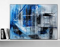 Wholesale original digital art for sale - Hand Painted Original abstract modern art Contemporary Painting Blue Black and gray color wall art decor Textured large artwork