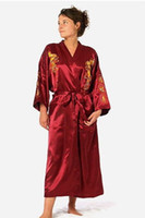 белые свадебные ремешки оптовых-Burgundy Silk Embroidery Dragon Kimono Bathrobe Gown Women Sexy Satin Robe Long Nightgown Size S M L XL XXL XXXL BR040