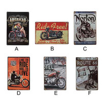 motosiklet kalay metal toptan satış-Vintage metal Tabelalar Retro Motosiklet Metal Burcu Antik Taklit Demir Plaka Boyama Dekor Için Bar Cafe Oturma Odası Ev Dekor