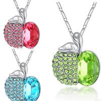 diamants vert pomme achat en gros de-2018 Crystal Apple Collier Bleu Vert Diamant Apple Pendentif En Argent Chaîne Veille De Noël Bijoux pour Femmes Enfants Cadeau De Noël