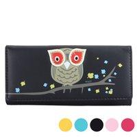 móvel da coruja venda por atacado-Carteira carteira pequena fresca do telefone móvel Bag PU Mulheres coruja impressão animais portfel carteira feminina feminina bolsa