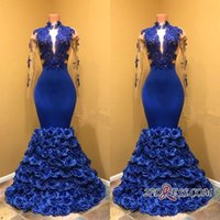 blütenblatt ärmel kleider großhandel-Royal Blue Petal Power Blumen Prom Kleider 2018 High Neck Sexy Sheer Long Sleeves Spitze Applizierte African Black Girls Wear BA8227