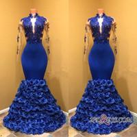 vestidos de pétala preto venda por atacado-Royal Blue Petal Power Flores Prom Dresses 2018 de Alta Neck Sexy Sheer Mangas Compridas Lace Appliqued Africano Meninas Negras Desgaste BA8227