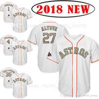 Wholesale custom cooling - Custom 2018 Gold Program 27 Jose Altuve 35 Justin Verlander Houston Jersey Astros 4 George Springer 1 Carlos Correa Cool Base Jerseys mens