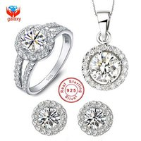 Wholesale White Jade Earrings 925 Silver - whole saleYHAMNI 100% 925 Sterling Silver Jewelry Sets Round CZ Diamant Pendant Necklace Earrings Ring Women's Wedding Jewelry Sets YS014