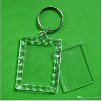 marco plástico de la foto llaveros personalizados al por mayor-170pcs En blanco Llaveros de acrílico Rectángulo Inserte los llaveros de la foto (cadena del anillo dominante) 1.5