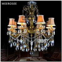 Wholesale antique brass bedroom lamps resale online - Bronze Finished Antique Crystal Chandelier Lingting Luxurious Brass Crystal Lamp Lustre Suspension Light MD8504 L8 D750mm H750mm