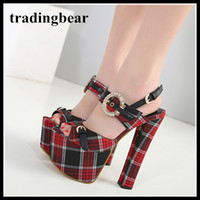 Wholesale British Pumps - British Red Plaid Open Toe High Platform Chunky Heels Shoes Party Wear College Wind 16cm 2018 New size 35 to 40
