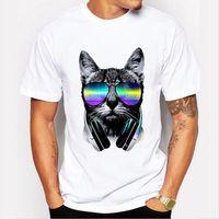 Wholesale Dj Blend - Man Brand Fashion White Mens T Shirt Music DJ Cat Print Shirt Summer Funny T shirt For Men Brand Casual Short Sleeve Tops