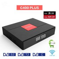 cajas de cable hd tv al por mayor-Magicsee C400 Plus Amlogic S912 Octa Core TV Box 3 + 32GB Android 4K Smart TV Box DVB-S2 Cable DVB-T2 Dual WiFi Smart Media Player