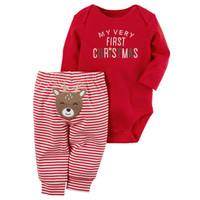 269dd764dc61b 2 Pcs Mon Premier Noël Nouveau-Né Bébé Garçons Filles Vêtements Bébé Lettre  Body Onesie + Stripe Deer Pantalon Outfit Xmas Clothing DS20