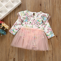Wholesale Wholesale Organic Baby Rompers - Vieeoease Girls Floral Tulle Romper INS Baby Clothing 2018 Spring Cute Fly Sleeve Jumpsuits Rompers HX-908