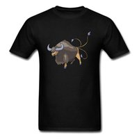 Wholesale simple drawings online - Simple Style Three Tailed Bull Drawing Men Black Tee Shirt Short Sleeve Casual Chic Male Cartoon Design T Shirt